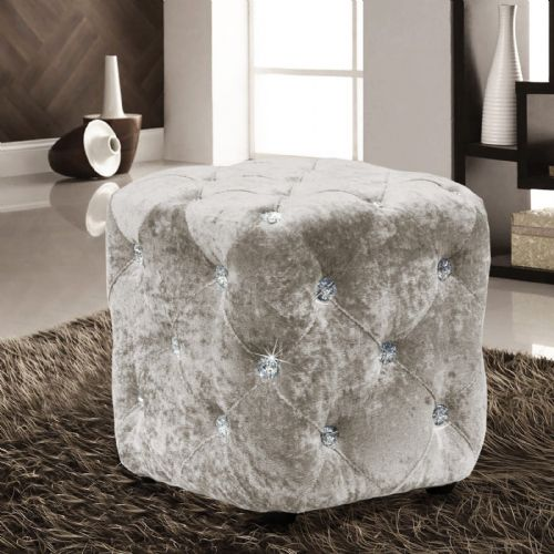 CREAM LUXURY CRUSHED VELVET DIAMANTE FOOT STOOL CUSHION CUBE POUFFE DESIGNER FURNITURE